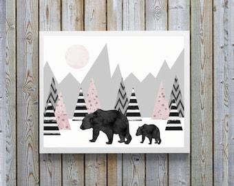 Nursery wall art,Pink,gray,scandinavian, nursery,girls,Bear,Cub,woodland,wildlife,Canadian,watercolor,modern nursery,gift for nursery, girl