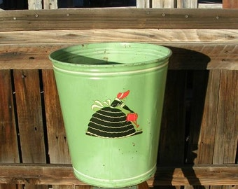 Antique Litho Mary Mary Quite Contrary Jadite Metal Trash Can