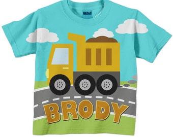 Dump Truck T-Shirt, Personalized Boys Construction Birthday Shirt