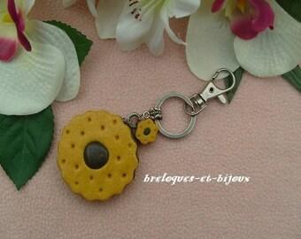 MODELAGE BISCUIT FOURRE sulpture bijou de sac   bijou  biscuit rond fourré chocolat pour l'embellissement de votre sac a main