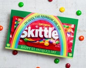 """St. Patrick's Day printable skittles bag holder card Give rainbow candy out for St. Paddy's Day with """"I'm over the rainbow for you"""" cards"""