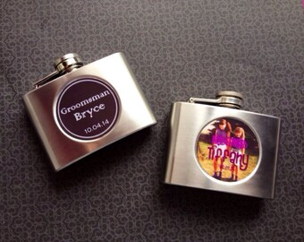 Bridesmaid flask, 4 ounce, stainless steel personalized flask. Bridesmaid and Maid of honor gift