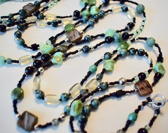 Bohemian Beaded Necklace with Sterling Silver Beads