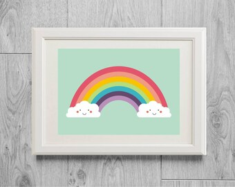 Rainbow print - Rainbow poster - Kawai print - Kawai poster - Kids nursery decor - Pastel decor -