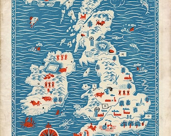 """Vintage England Map """"Great Britain"""" Antique British Map - Red White and Blue Nautical Art Print - Mid Century Modern Art"""