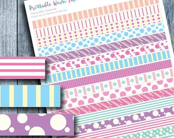 Stripes Polkadot Washi Tape Printable Sticker for Planner, Erin Condren, Planner Accessories, Colorful Washi Tapes, Candy Colors Stickers