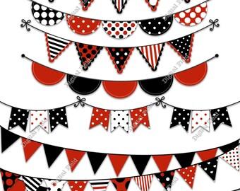 Black Red Bunting Clip Art Set - printable digital clipart - instant download