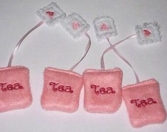 Felt play food - pretend food - play kitchen food - Pretend play felt food miniature tea bags set of 4 #PF2522