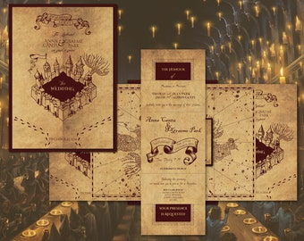 Harry Potter Marauder's Map Inspired Wedding Invitation - Invitations, RSVP and Envelope