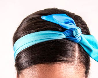 Washed up Blue Tie-Up Headband