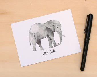 """Postcard """"All love"""" elephant lettering watercolor"""