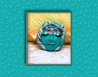 Polymer clay face, cabochon face, bead embroidery, Altered Art
