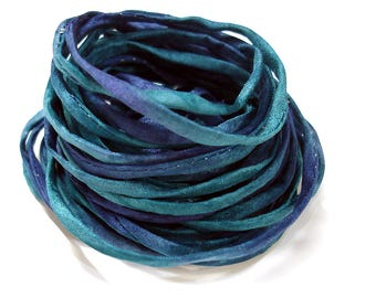 """5PC. MIDNIGHT  2MM Hand Dyed Silk Jewelry Cord//5PC Hand Dyed Silk Cording 1/8"""" X 36""""//Hand Dyed Silk Jewelry Bracelet/Necklace Cording"""