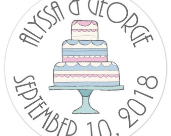 60 Wedding Shower Stickers, Doodle Cake, Bridal Shower Labels, 2.5 inch round, Favor Stickers