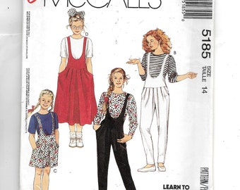 McCall's Girls' Jumper, Jumpsuit, Romper and Top for Knits Pattern 5185