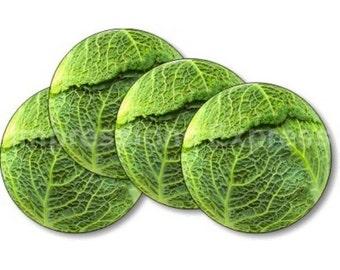 Cabbage Round Coasters - Set of 4