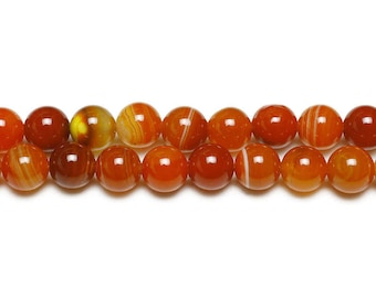 10 x ORANGE natural Agate beads with 6mm