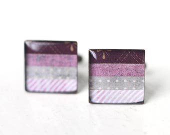 Purple Cuff Links for Weddings, For Grooms and Groomsmen - Square Cufflinks