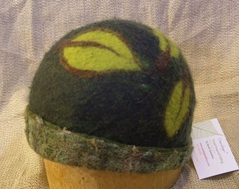 Felted Hat with Green Leaves