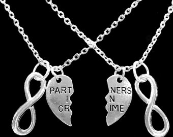 Best Friend Gift, Partners In Crime Necklace, Infinity Split Heart,Best Friend Necklace, BFF Necklace, Sisters Gift Necklace Set