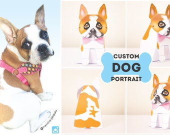 Custom Dog portrait / Dog Portrait / Custom Pet Portrait / Dog Lover Gift / Dog Drawing / Dog Memorial - by Kooee Papercraft