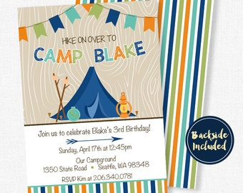 Camping Birthday Invitation, Boy Birthday Invitation, Nature Party Invitation, Hiking Birthday Invitation, Camping Invitation