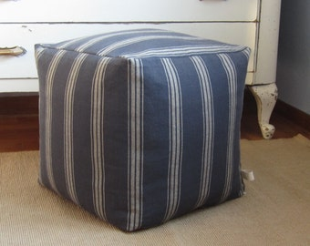 Striped cube pouf cover, 16x16x16, striped floor pillow, soft foot stool, blue grey striped pouf, cottage chic blue ottoman, blue pouf cover