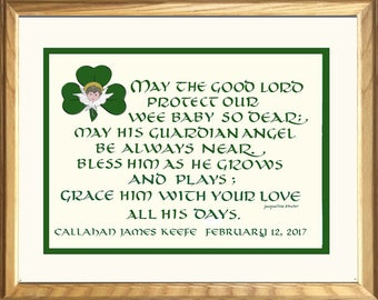 Irish Baby Blessing for boy or girl, FREE Shipping and  personalizing Celtic gift, composed, hand-lettered and designed by Jacqueline Shuler