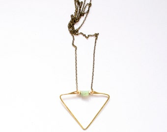 LAKE   Gemstone and Brass Beads on Hammered Triangle Brass Pendant Necklace