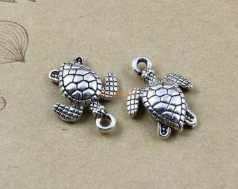 30Pcs Antique Silver sea turtle Charm sea turtle Pendant 16x13mm (PND472)