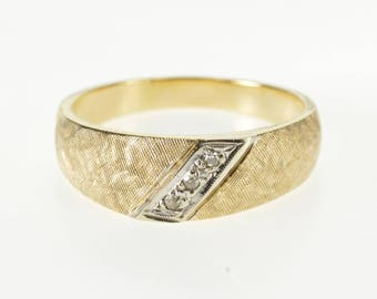 14K Retro Crosshatch Texture Rounded Diamond Band Ring Size 7.75 Yellow Gold