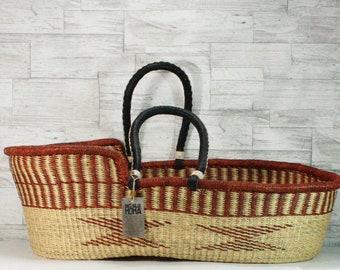 Moses Basket, Basinet - Brown & Natural Diamonds