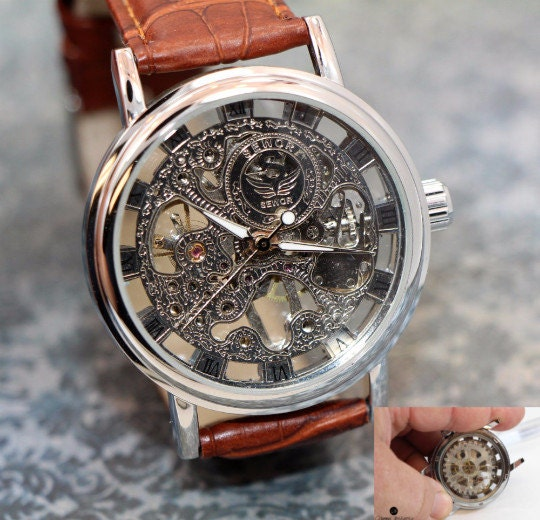 Personalized Engraved Mens Watch Steampunk See Thru Man Gear Watch Brown Leather Band amazing design. Comes in gift box!