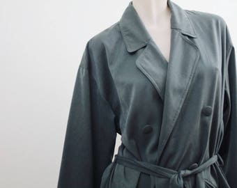 Vintage dusty/forest green pea coat size 14 with belt