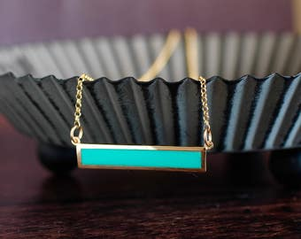 Bar Necklace Turquoise Necklace Delicate Necklace Minimalist Necklace Trendy Necklace Gold Jewelry Gift Under 50 Gift For Her Sterling