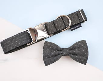Black Dash Dot Chambray Collar and Bow Tie Set - Charcoal Wedding Dog or Cat Collar