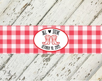 I Do BBQ Couples Wedding Shower Red And White Water Bottle Labels | 2 x 8 | Print-It-Yourself | Digital Download | Printable | Custom Labels