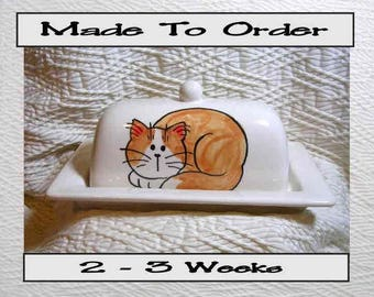 Pottery Butter Dish Orange and White Cat Handmade Ceramic Original by Grace M Smith