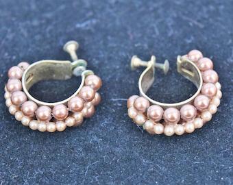 Vintage 1940s bronze beaded hoop screw back earrings