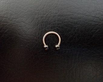 "Rose Gold and Black Small Septum Horseshoe Ring 16g 5/16"" 3/8"" Daith Snug Orbital Helix Tragus Lip Ring 316lvm Steel"