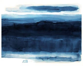 Large original watercolor abstract painting blue 29.5 X41 mid century color field blue wall art abstract landscape minimalism Kloch