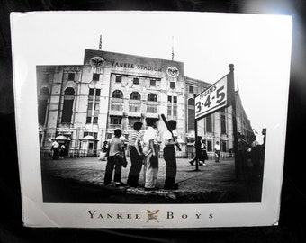 "Vintage Yankee Stadium Photograph - Black and White 16"" x 20"" Retro Young Baseball Hopefuls at Yankee Stadium, 1950's"