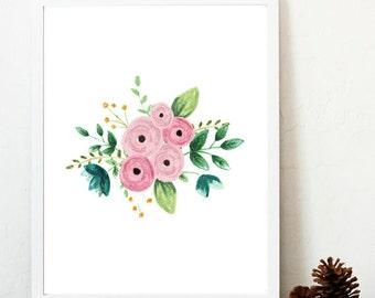 watercolor flowers print, rifle paper co flowers, baby girl nursery art, pink watercolor flowers, painted flowers print, floral art print