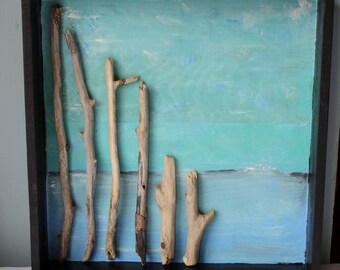 Art for the Beach Room, driftwood  Shadowbox Frame, Original Seascape Painting , Coastal Wall Decor