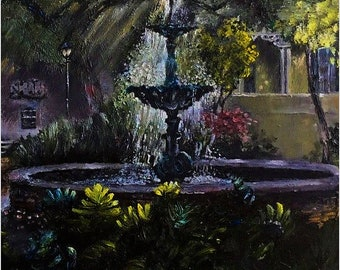 Afternoon tranquility in Savannah. Oil on canvas painting. Impressionism