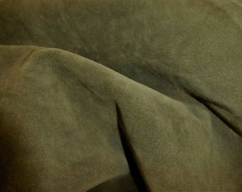 """Suede Leather 8""""x10"""" KHAKI GREEN Garment Suede Cowhide 3.5oz / 1.4mm PeggySueAlso™ E2827-05 Hides Available"""