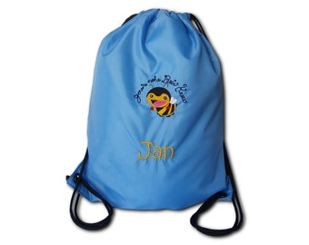 Gym bags with bee and name embroidered