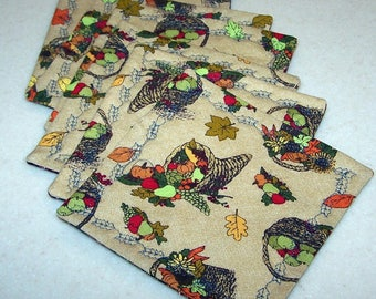 Six Thanksgiving themed quilted coasters