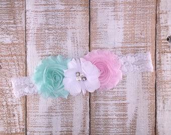 Pastel Headband, Spring Headband, Floral Headband, Lace Headband, Easter Headband, Newborn Headband, Toddler Headband, Girls Headband