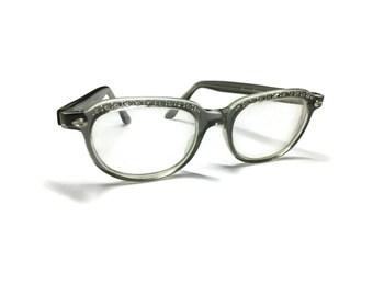 Grey Rhinestone Eyeglass Frames | Cat Eye Frames | Vintage Eyeglasses | 60s Eyeglasses